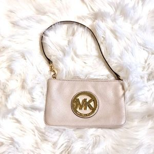 Micheal Kors White and Gold Wristlet